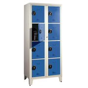 Wardrobe 2 columns 8 compartments monoblock grey blue