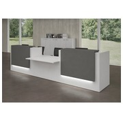Reception desk Jana white /anthracite W 426 cm with lower module in the center