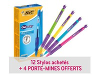 Pack de 12 stylos rollers Bic Gelocity + 4 portemines Bic Matic offerts