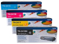 Brother TN241 pack 4 toners 1 black + 3 colors for laser printer