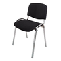 Stackable meeting chair, fire resistant black cloth, chrome feet